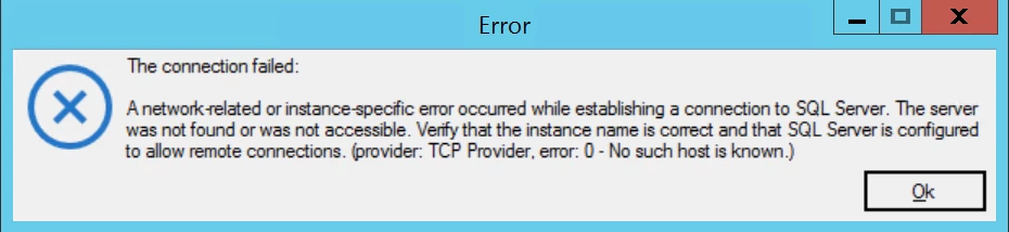 SQL Server Connection Failed Message Window